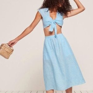 Reformation Two-Piece Blue Gingham Torta Set (2)